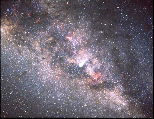 Picture of Halley's Comet against the Milky Way in 1986. Courtesy of NASA and he Kuiper Airborne Observatory.