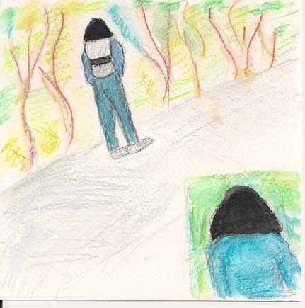 "The larger depiction is from the back showing the ""backpack"". The inset shows the front view with solid black head area, no gradation. My little depiction shows blue clothing. In honesty this was muddier and grayish in color."