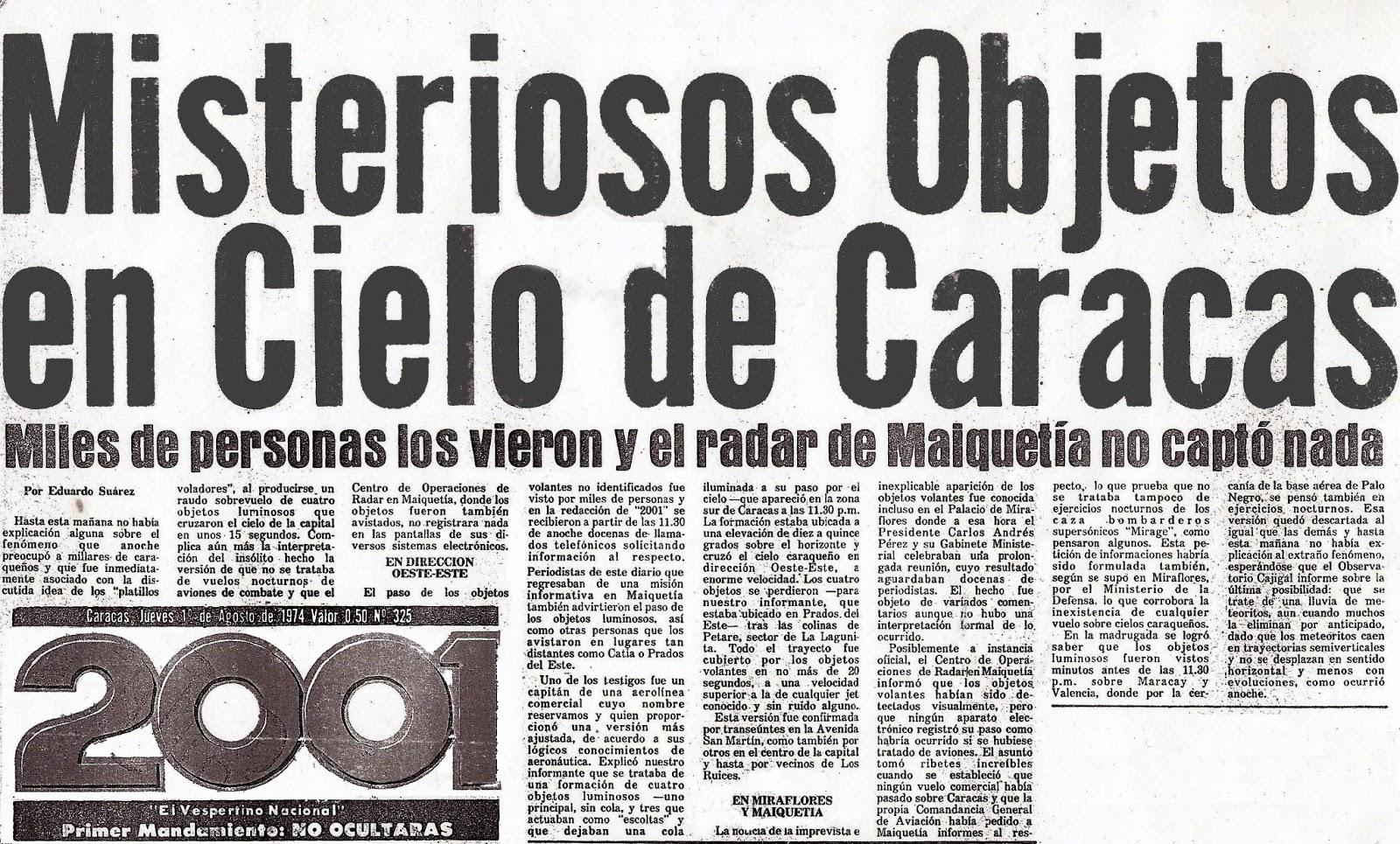 Proof of David Biedny's Caracas, Venezuela UFO sighting
