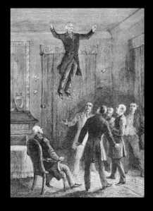 The levitation of Daniel Dunglas Home interpreted in a lithograph from Louis Figuier, Les Mystères de la science 1887.
